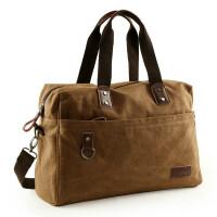 潮流帆布包男包大容量单肩包户外手提包斜挎包旅行包背包tb 咖啡色