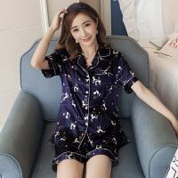 睡衣女夏季短袖韩版丝绸睡衣女士两件套装性感冰丝薄款短裤家居服