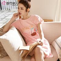 【都市丽人】睡衣睡裙女简约时尚舒适透气柔软棉质女士家居BH7605