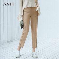 【到手价:156元】Amii极简帅气街拍chic休闲九分裤2019冬新款立绒保暖宽松萝卜裤