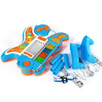 儿童吉他乐器电子琴钢琴可弹奏音乐故事机玩具早教玩具3-6岁男女孩启蒙玩具 蓝色
