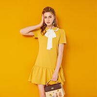 2018夏季新款女装黄色娃娃领短袖小清新裙子显瘦学院风鱼尾连衣裙 黄色