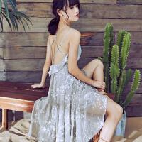 夏装新款女装文艺印花交叉露背吊带裙仙女长裙度假沙滩连衣裙
