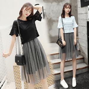 AGECENTRE 2018夏季新款网纱蓬蓬连衣裙性感两件套短袖套装裙