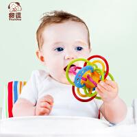 牙胶摇铃婴儿玩具0-3-6-12个月新生儿宝宝磨牙棒曼哈顿球
