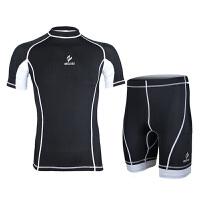 运动紧身衣骑行服  跑步训练健身衣服 弹力短袖套装男户外山地自行车服