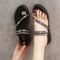 女士坡跟套趾沙滩鞋潮 时尚水钻两穿女鞋厚底凉鞋 新款外穿套趾凉拖鞋女