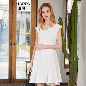 【海贝商场热卖款】海贝2018夏季新款女装 简约纯色OL气质V领镂空高腰短袖连衣裙短裙