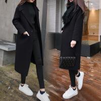 2018秋季新款毛呢外套女中长款2018新款冬装韩版加厚显瘦翻领双面羊绒呢子大衣