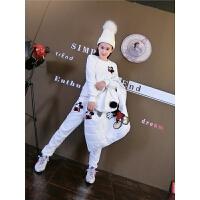 加绒加厚卫衣女套装冬季新款米奇运动休闲套装韩版时尚修身三件套 白色 米奇加绒三件套 M 建议80-99斤