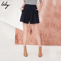 Lily2018春新款女装商务通勤A型藏蓝休闲裤显瘦短裤118130C5610