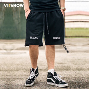 VIISHOW夏装新品休闲短裤男字母刺绣绑带抽绳纯棉男士五分裤