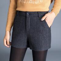 直筒短裤加厚百搭气质修身显瘦韩版简约时尚2017年冬季中腰毛混纺布裤子