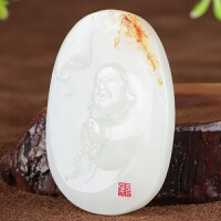 侯晓峰玉雕 新疆和田玉白玉籽料笑佛公挂件弥勒佛吊坠原籽25克