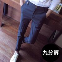 西�男�子�n版潮流新款九分�男士小�_���松黑色修身休�e�潮
