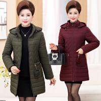 秋冬装新款中老年女装夹棉衣外套女妈妈装纯色连帽中长款40岁