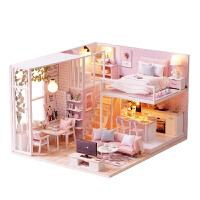diy手工创意小屋阁楼 动手制作迷你公主房子木质别墅模型玩具礼物