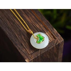 天然和田白玉平安扣锁骨项链吊坠,白玉暇,配上烧蓝的绿色荷叶