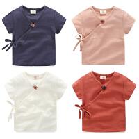 宝宝短袖衬衫男 夏装新款男童童装中国风复古唐装衬衣