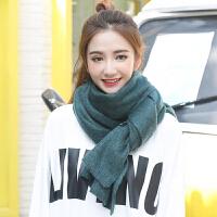 韩国秋冬季防寒加厚百搭纯色原宿针织毛线围巾学生冬天保暖披肩女