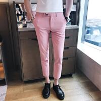 夏季九分裤男修身男装休闲小西装裤男士韩版小脚9分西裤潮男裤子