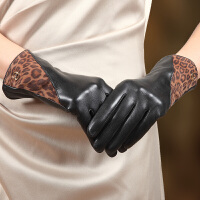 新款时尚真皮手套女开车羊皮手套加绒加厚保暖女士皮手套 可礼品卡支付