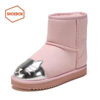 【6.4-6.6限时2折】hoebox鞋柜新款PINKII冬季短筒保暖女靴可爱卡通贴布雪地