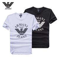 Armani阿玛尼 男士夏季短袖T恤 休闲圆领素版设计棉质透气清爽 V6X58两色