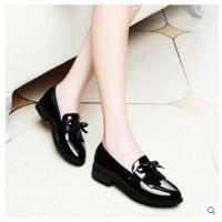 古奇天伦新款乐福鞋浅口平底单鞋小皮鞋子女韩版英伦学院风女鞋子BNM8471-1
