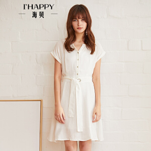 海贝2018夏季新款女装简约百搭纯色单排扣收腰系带短袖连衣裙短裙