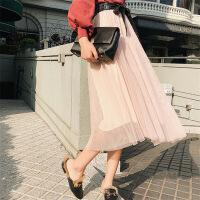半身裙2018年春季中长款时尚潮流气质优雅格子韩版纯色 杏色 均码