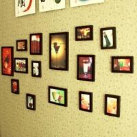 十五框木质相框墙 照片组合墙 背景墙 装饰品
