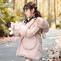 秋冬宝宝中长款女童装外套中大儿童羽绒服