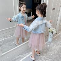 女童套装2020新款童装儿童连衣裙女孩牛仔外套裙子两件套春装