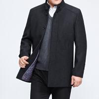 冬季中年男士羊毛呢大衣中老年男装中长款加棉加厚风衣外套爸爸装