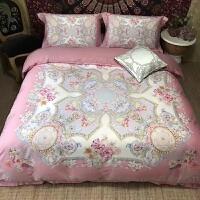 家纺 80支印花纯棉床上四件套 美式长绒棉贡缎全棉床品套件