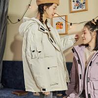 【新品299.9元】唐狮羽绒服女短款年新款小个子工装白色羽绒服时尚短款派克服