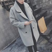冬季潮新款毛呢大衣男中长款呢子宽松外套青少年韩版潮流加厚风衣 浅灰色 M