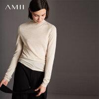 【618大促-每满100减50】Amii[极简主义]轻奢 100%小山羊绒毛衣女 秋新品高精纺高领打底衫