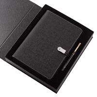 商务笔记本文具 创意U盘电源A5活页充电记事本办公礼品定制logo 黑色 8G+6000毫安+礼盒