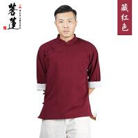 中国风复古瑜伽禅修打坐唐装茶人服文艺范禅意禅修短袖男款棉上衣