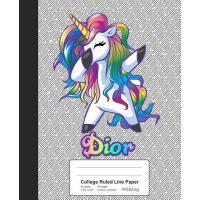 【预订】College Ruled Line Paper: DIOR Unicorn Rainbow Notebook
