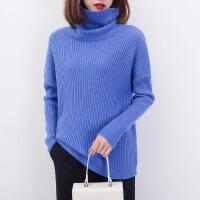新款秋冬高领女士长袖宽松毛衣套头坑条羊绒衫加厚打底针织衫