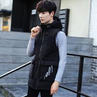 连帽无袖羽绒马甲男士青年韩版潮冬季短款帅气外套保暖羽绒服背心 黑色
