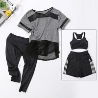 夏季瑜伽服健身房三四件套七分裤跑步服短袖速干衣短裤运动套装女