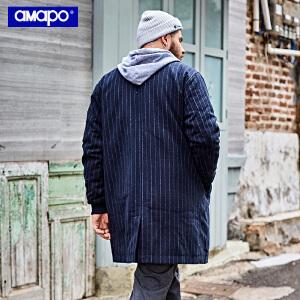 【限时抢购到手价:210元】AMAPO潮牌大码男装冬季加肥加大宽松潮胖子中长款棉服保暖外套男