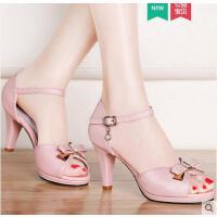 雅诗莱雅夏季新款细跟一字扣高跟鞋韩版百搭性感夏天女鞋子潮鱼嘴凉鞋YS3080XS