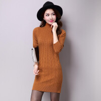 毛衣女中长款修身秋冬新款长袖百搭半高领套头羊绒打底针织衫