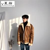 夏妆 重磅推荐冬季新款 高质感货 PU皮毛一体羊羔毛夹克厚外套男潮 2X