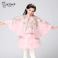欧式复古金线重工刺绣外套呢大衣两件套儿童公主裙秋冬新款披风斗篷套装